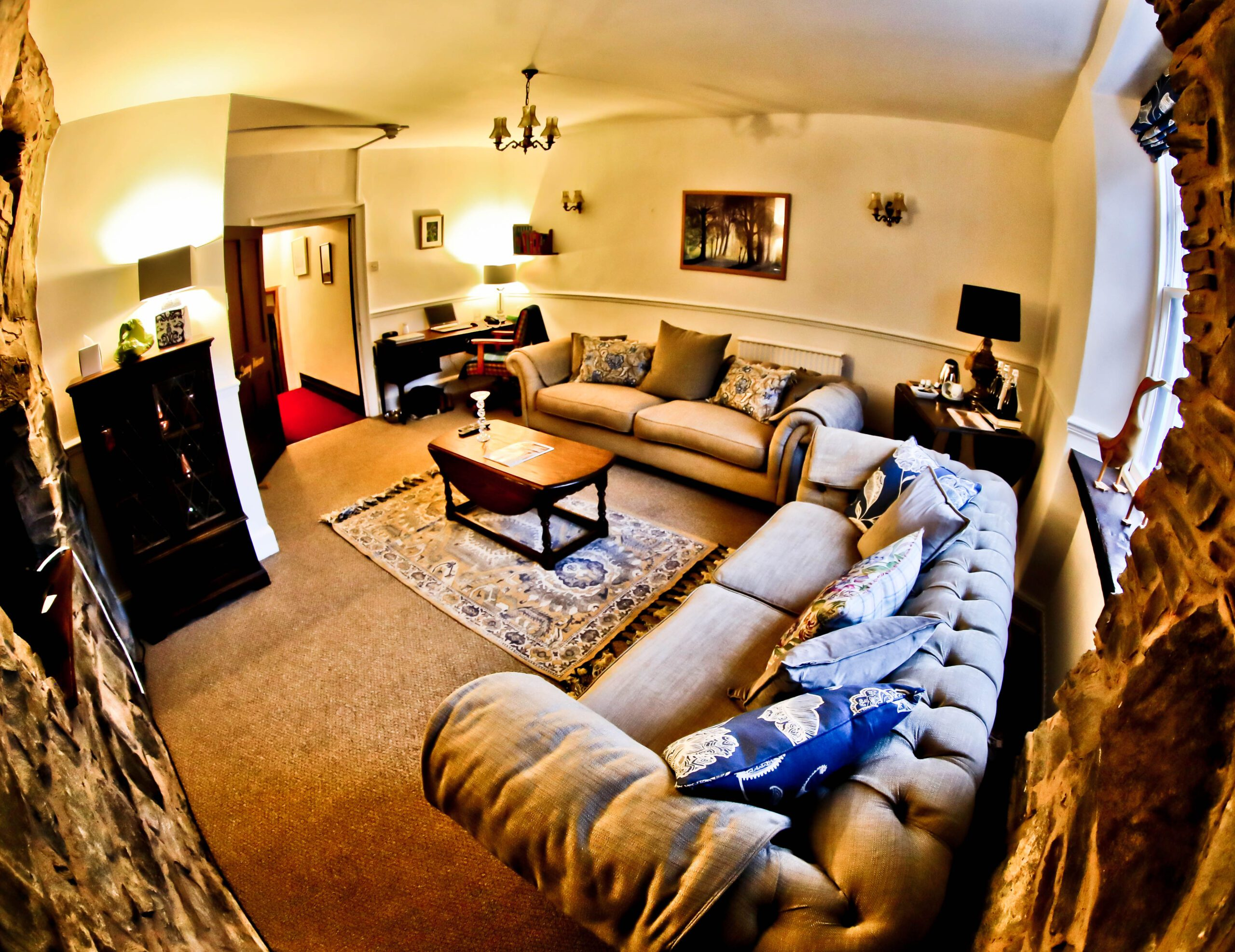 Image of a living room at the Bunny Warren Suite, one of the most special places to stay in Snowdonia.