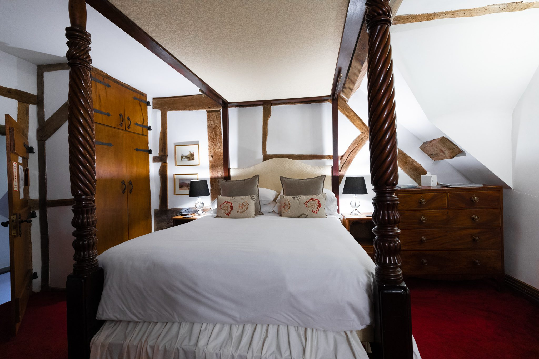 Image of a bed in the Howard Room at the West Arms, a country inn based in North Wales.